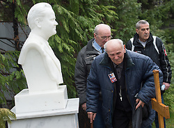 11.03.2016, Pozarevac, SRB, Slobodan Milosevic, zehnter Todestag, im Bild ca. 200 Anhänger besuchten das Grab zum zehnten Todestag des früheren jugoslawischen und serbischen Präsidenten Slobodan Milosevic // Worshipers at the tomb of Slobodan Milosevic, former president of Serbia and Yugoslavia, who died during his trial at the Hague Tribunal March 11, 2006. and was buried in the family home in Pozarevac. Worshipers marked the tenth anniversary of Milosevic's death at Pozarevac, Serbia on 2016/03/11. EXPA Pictures © 2016, PhotoCredit: EXPA/ Pixsell/ Srdjan Ilic<br /> <br /> *****ATTENTION - for AUT, SLO, SUI, SWE, ITA, FRA only*****