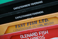 Fishermans crates stacked up on Inis Oirr the Aran Islands Galway Ireland