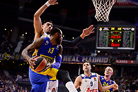 Real Madrid's Gustavo Ayon and Felipe Reyes and Maccabi Fox's Sonny Weens and Colton Iverson during Turkish Airlines Euroleague match between Real Madrid and Maccabi at Wizink Center in Madrid, Spain. January 13, 2017. (ALTERPHOTOS/BorjaB.Hojas)