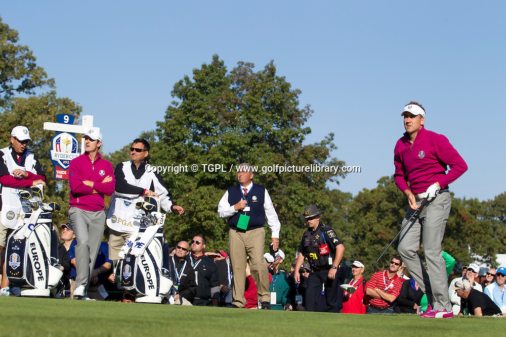 Ian POULTER (EUR) with Justin ROSE (EUR)  during morning Foursomes,Ryder Cup Matches,Medinah CC,<br /> Medinah,Illinois,USA.