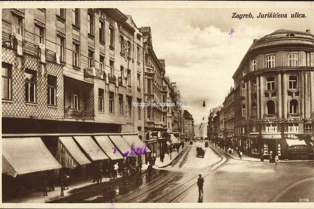 Zagreb : Jurišićeva ulica. <br /> <br /> ImpresumZagreb : Naklada S. Marković, 1926.<br /> Materijalni opis1 razglednica : tisak ; 8,8 x 13,6 cm.<br /> NakladnikNaklada S. Marković<br /> Mjesto izdavanjaZagreb<br /> Vrstavizualna građa • razglednice<br /> ZbirkaGrafička zbirka NSK • Zbirka razglednica<br /> Formatimage/jpeg<br /> PredmetZagreb –– Jurišićeva ulica<br /> SignaturaRZG-JURIS-3<br /> Obuhvat(vremenski)20. stoljeće<br /> NapomenaRazglednica je putovala 1927. godine.<br /> PravaJavno dobro<br /> Identifikatori000954843<br /> NBN.HRNBN: urn:nbn:hr:238:986740 <br /> <br /> Izvor: Digitalne zbirke Nacionalne i sveučilišne knjižnice u Zagrebu