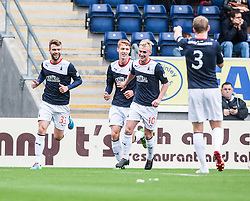 Falkirk's Rory Loy celebrates with team mates after scoring their first goal.<br /> Falkirk 3 v 1 Dundee, 21/9/2013.<br /> ©Michael Schofield.