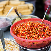 Chilli paste at street market stall in Saigon