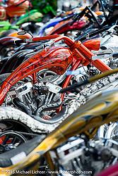 Custom bike Builder Eddie Trotta's wonderful display of his own bikes at Destination Daytona Harley-Davidson during Daytona Beach Bike Week 2015. FL, USA. Tuesday March 10, 2015.  Photography ©2015 Michael Lichter.