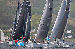 Pelle P Kip Regatta 2017 run by Royal Western Yacht Club at Kip Marina on the Clyde. <br /> <br /> RC35 Class Start, Sloop John T, Anmal, Wildebeeste, Jacob<br /> <br /> Image Credit Marc Turner