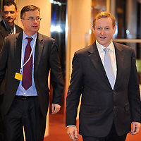 6-3-2014: Taoiseach Enda Kenny arriving at the EPP Group Summit meeting in the Dublin Conference centre last night accompanied by his personal assistant Mark Kennelly.<br /> Picture by Don MacMonagle