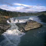 Salto Chico rushes past high in the Andes Mountains in Torres del Paine National Park, Patagonia, Chile.