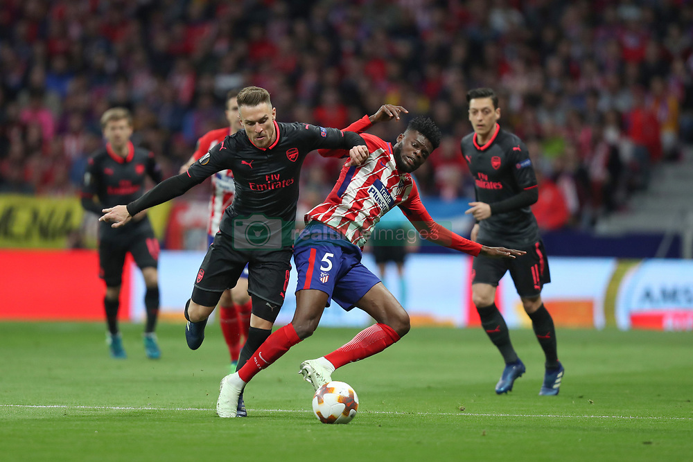 May 3, 2018 - Madrid, Spain - AARON RAMSEY of Arsenal FC and THOMAS PARTEY of Atletico de Madrid during the UEFA Europa League, semi final, 2nd leg football match between Atletico de Madrid and Arsenal FC on May 3, 2018 at Metropolitano stadium in Madrid, Spain (Credit Image: © Manuel Blondeau via ZUMA Wire)