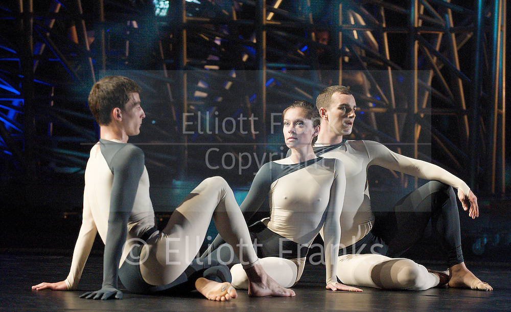 Nearly Ninety<br /> The Merce Cunningham Dance Company <br /> choreography by Merce Cunningham<br /> at The Barbican Theatre, London, Great Britain <br /> rehesrsal <br /> 26th October 2010 <br /> <br /> <br /> <br /> <br /> Dylan Crossman<br /> Melissa Toogood<br /> Brandon Collwes<br /> <br /> <br /> Photograph by Elliott Franks<br /> 2010©Elliott Franks