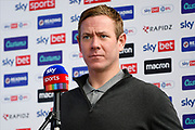 Bristol City manager Dean Holden being interviewed by Sky Sports ahead of the EFL Sky Bet Championship match between Reading and Bristol City at the Madejski Stadium, Reading, England on 28 November 2020.