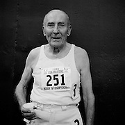 at the 2009 USA Masters Indoor Track and Field Championships at the Prince George's Sports and Learning Complex in Landover Maryland..Roy Englert, 94, after the mile