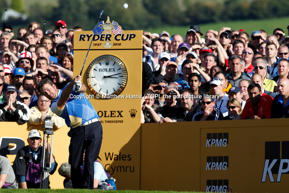 Graeme MCDOWELL (EUR) hits crucial tee shot off 17th par 3 tee V Hunter MAHAN (USA) Session Four_Singles during Ryder Cup 2010,Celtic Manor,Newport,Wales.