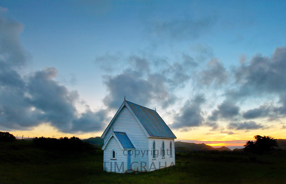Small Baptist chapel in a meadow near Pollok, North Island, New Zealand