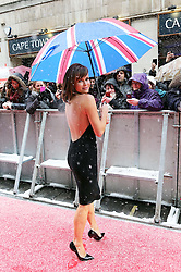 Amanda Holden braves the elements as she arrives for the Britain's Got Talent auditions in London, Sunday, 20th  January 2013.  Photo by: Stephen Lock / i-Images