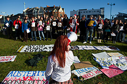© under license to London News Pictures.  08/12/2010 A student speaks to the assembled group of people. Students from all over Plymouth gather in the city centre to demonstrate against the proposed increase in fees today (Wednesday). Photo credit should read: David Hedges/London News Pictures