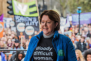 Maria Miller MP, Chair of the Women and Equalities Select<br /> Committee  - #March4Women 2018, a march and rally in London to celebrate International Women's Day and 100 years since the first women in the UK gained the right to vote.  Organised by Care International the march stated at Old Palace Yard and ended in a rally in Trafalgar Square.