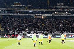 19.02.2018, Commerzbank Arena, Frankfurt, GER, 1. FBL, Eintracht Frankfurt vs RB Leipzig, 23. Runde, im Bild Fans protestieren gegen das Montagsspiel // during the German Bundesliga 23th round match between Eintracht Frankfurt and RB Leipzig at the Commerzbank Arena in Frankfurt, Germany on 2018/02/19. EXPA Pictures © 2018, PhotoCredit: EXPA/ Eibner-Pressefoto/ Rene Weiss<br /> <br /> *****ATTENTION - OUT of GER*****