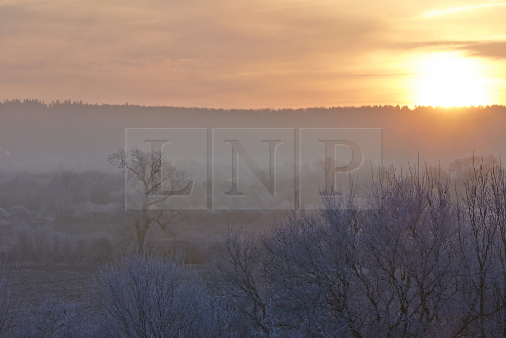 © Licensed to London News Pictures.  12/12/2012. WENDOVER, UK. The sun rises over the Chilterns near Wendover. Overnight freezing temperatures combined with fog created a hoarfrost covering everything in ice crystals and turning the landscape white. Photo credit :  Cliff Hide/LNP