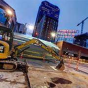 Streetcar construction work at 12th & Main Streets, downtown Kansas City, MIssouri.