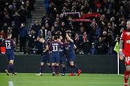 Neymar da Silva Santos Junior - Neymar Jr (PSG) scored it second goal, celebration with Edinson Roberto Paulo Cavani Gomez (psg) (El Matador) (El Botija) (Florestan), Marco Verratti (psg), Angel Di Maria (psg), Yuri Berchiche (PSG) during the French championship L1 football match between Paris Saint-Germain (PSG) and Dijon, on January 17, 2018 at Parc des Princes, Paris, France - Photo Stephane Allaman / ProSportsImages / DPPI