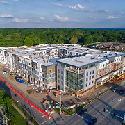 Construction site of Avenue 80 mixed use development, 80th & Metcalf, Overland Park, Kansas; May 2017. Developed by Waterford Property Company.