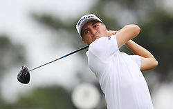 April 7, 2018 - Augusta, GA, USA - Justin Thomas hits from the 1st tee during the third round of the Masters Tournament on Saturday, April 7, 2018, at Augusta National Golf Club in Augusta, Ga. (Credit Image: © Curtis Compton/TNS via ZUMA Wire)