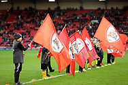 The Barnsley Mascots wave flags prior to the EFL Sky Bet League 1 match between Barnsley and Charlton Athletic at Oakwell, Barnsley, England on 29 December 2018.