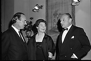 """'Don Giovanni"""" film at the Olympia Theatre..1961..02.10.1961..10.02.1961..2nd October 1961..At the Olympia Theatre ,Dublin , the actress Siobhán McKenna,attended the performance of the film 'Don Giovanni'. The film was presented in conjunction with Gael Linn at the theatre...Image shows Siobhán McKenna in conversation before the showing of the film. If you know the names of the two gentlemen why not let us know at irishphotoarchive@gmail.com and we will gladly add them to the caption."""