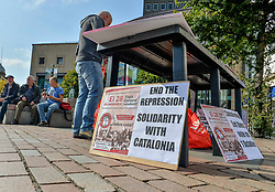 Activists held a rally in the centre of Dundee in support of the Catalonian independence vote due to be held in October.<br /> <br /> © Dave Johnston/ EEm