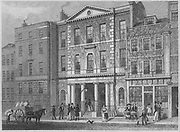 Coal Exchange, Thames Street, engraving from 'Metropolitan Improvements, or London in the Nineteenth Century' London, England, UK 1828 , drawn by Thomas H Shepherd