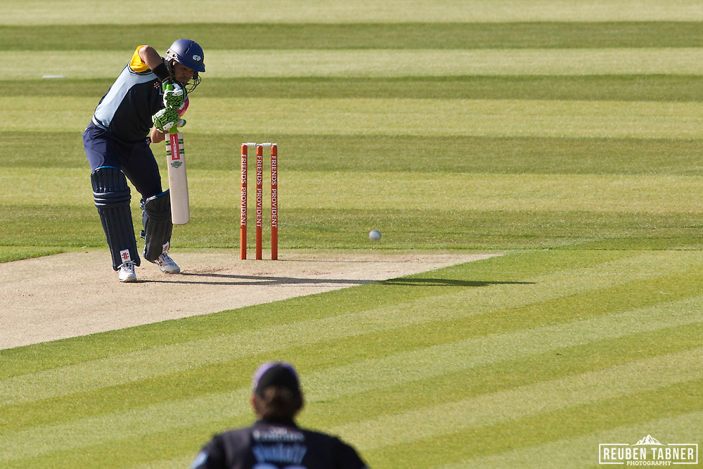 Jacques Rudolph of Yorkshire Carnegie bats against Durham Dynamos at the Emirates Durham ICG. Rudolph scored 15 from 31 balls.