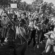 Dr. Jewel Jackson leads protesters in dance at a Black Lives Matter demonstration in Simi Valley, a predominantly white, conservative, Republican suburb, on Juneteenth.