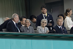 November 1, 2019, Tokyo, Japan: Japan's former emperor Akihito (C-L) and his wife attend the Bronze Final match between New Zealand and Wales during the Rugby World Cup 2019 at Tokyo Stadium. New Zealand defeats Wales 40-17. (Credit Image: © Rodrigo Reyes Marin/ZUMA Wire)