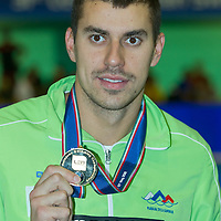 Damir Dugonjic of Slovenia celebrates his victory in the Men's 50m Brackstroke final of the 31th European Swimming Championships in Debrecen, Hungary on May 26, 2012. ATTILA VOLGYI