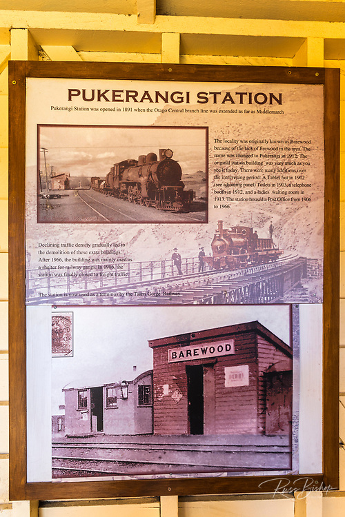 Historic train interpretive sign on the Otago Rail Trail, Middlemarch, Otago, South Island, New Zealand