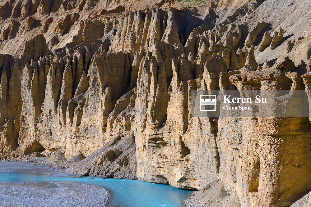 Eroded formation of mountain with glacier water, Himalayas, Ladakh, India