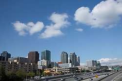 United States. Washington, Bellevue, downtown skyscrapers and highway I405