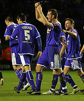 Fotball<br /> England<br /> Foto: Fotosports/Digitalsport<br /> NORWAY ONLY<br /> <br /> Leicester City FC vs Peterborough United FC League 1 20/12/08<br /> <br /> Leicester striker Steve Howard is mobbed after scoring Leicester's 4th goal.