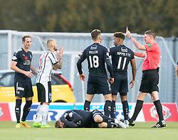 Dunfermline's Kallum Higginbotham elbows Falkirk's Joseph McKee and gets a second yellow card. Falkirk 1 v 1 Dunfermline, Scottish Championship game played 4/5/2017 at The Falkirk Stadium.
