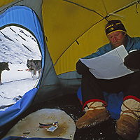 Arctic Ocean, near Cape Bathurst, Northwest Territories, Canada.An explorer reads a chart in a tent while sled dogs wait outside.