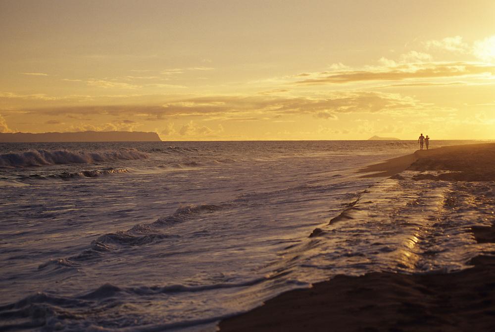 Hawaii, Kauai, Western Kauai, Kekaha Beach sunset, Niihau in distance