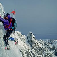 "Rob Hart (MR) descends steep ice on ""Fickle Finger of Fate"" in  the Cordillera Sarmiento, a previously unexplored range of Patagonia, Chile."