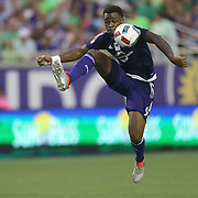 ORLANDO, FL - JUNE 18:  Cyle Larin #9 of Orlando City SC stops the ball during an MLS soccer match between the San Jose Earthquakes and the Orlando City SC at Camping World Stadium on June 18, 2016 in Orlando, Florida. (Photo by Alex Menendez/Getty Images) *** Local Caption *** Cyle Larin