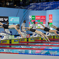 Participants compete in the Men's 200m Freestyle final of the FINA Swimming World Cup held in Budapest, Hungary on Oct. 9, 2021. ATTILA VOLGYI