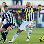 Besiktas's Simao SABROSA (L) and Fenerbahce's Alexsandro de SOUZA (R) during their Turkish Superleague Derby match Besiktas between Fenerbahce at the Inonu Stadium at Dolmabahce in Istanbul Turkey on Sunday, 20 February 2011. Photo by TURKPIX