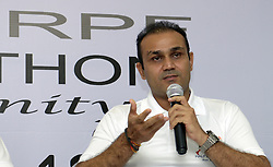 NEW DELHI,INDIA – AUGUST 12: Cricketer Virender Sehwag at a press conference to announce 'CRPF Half Marathon- Run for Unity' in New Delhi.(Photo by Qamar Sibtain/India Today Group) *** Local Caption *** Virender Sehwag (Credit Image: © India Today/ZUMA Wire)