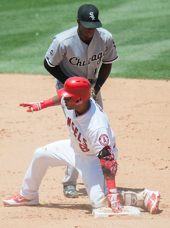 The Angels' Gregorio Petit is safe at second after his RBI double in the fourth inning against the Chicago White Sox at Angel Stadium on Sunday.<br /> <br /> ///ADDITIONAL INFO:   <br /> <br /> angels.0718.kjs  ---  Photo by KEVIN SULLIVAN / Orange County Register  -- 7/17/16<br /> <br /> The Los Angeles Angels take on the Chicago White Sox at Angel Stadium.