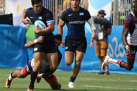 August 09, 2016; Rio de Janeiro, Brazil; USA Men's Eagles Sevens Nate Ebner tackles against Matias Moroni of Argentina during the Men's Rugby Sevens Pool A match on Day 4 of the Rio 2016 Olympic Games at Deodoro Stadium. Photo credit: Abel Barrientes - KLC fotos