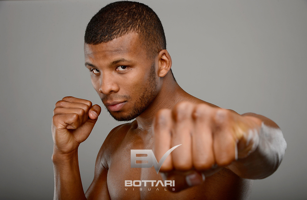 LAS VEGAS, NV - MAY 01:  Boxer Badou Jack poses during a Golden Boy Promotions portrait session at the MGM Grand Garden Arena on May 1, 2013 in Las Vegas, Nevada.  (Photo by Jeff Bottari/Golden Boy/Golden Boy via Getty Images)