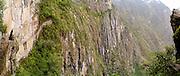 The precipitous Inca Drawbridge, a back entrance to Machu Picchu. Aguas Calientes, Peru